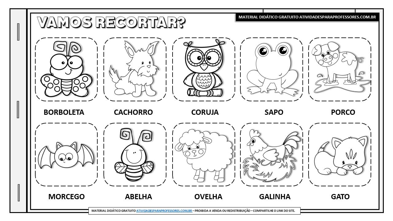 Caderninho de alfabetizacao com animais da fazenda