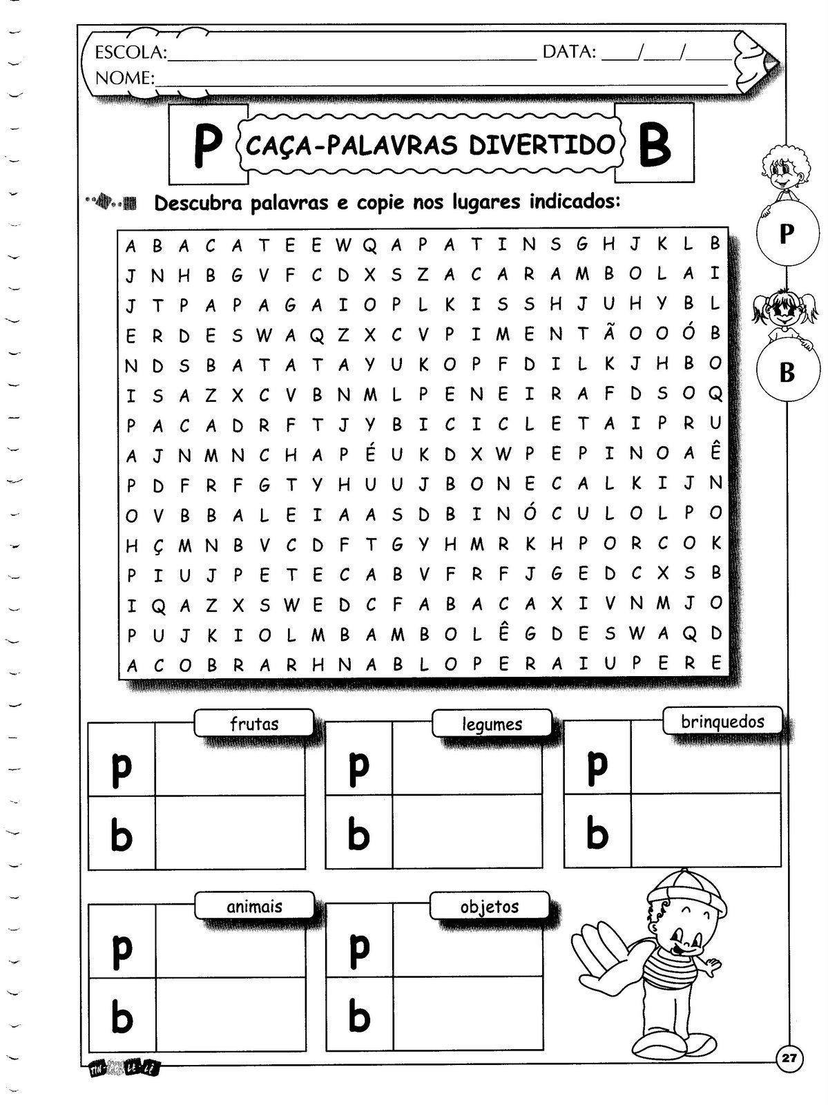 Ortografia 5º Ano Letras P e B caça-palavras