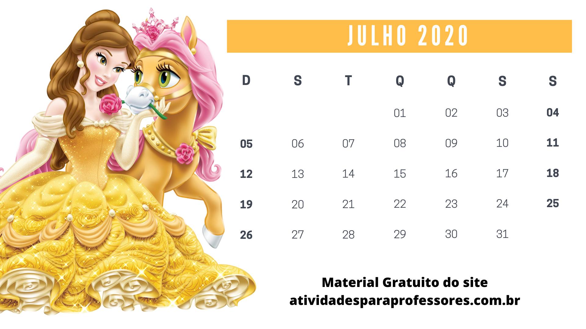 Calendário 2020 da Bela e a Fera julho 2020